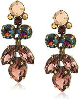 Sorrelli Mahogany Petite Crystal Lotus Flower Drop Earrings