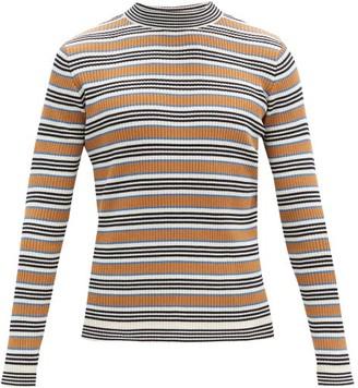 Marni Striped Rib-knitted Cotton-blend Sweater - Blue Multi