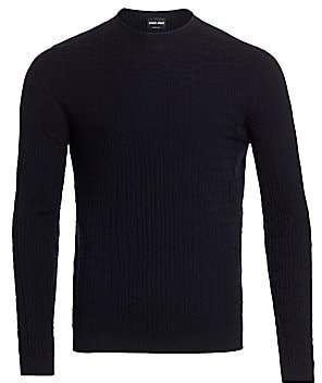 Giorgio Armani Men's Crocodile Textured Knit Sweater