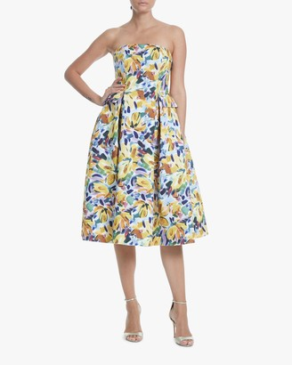 Badgley Mischka Pleated Strapless Cocktail Dress