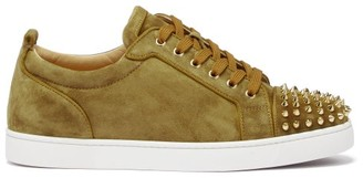 Christian Louboutin Louis Junior Spike-embellished Suede Trainers - Olive Green