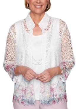 Alfred Dunner Petite Primrose Garden Layered-Look Lace Top