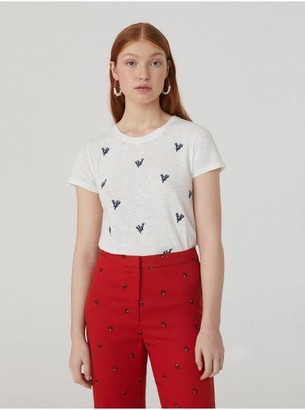 Nice Things White Cotton Corals Embroidered T Shirt - Small