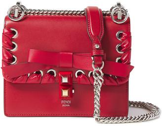 Fendi Kan I Small Bow-embellished Whipstitched Leather Shoulder Bag