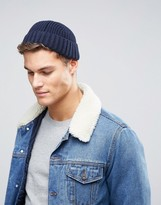 Asos Ribbed Mini Fisherman Beanie In Navy