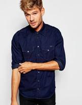 Pepe Jeans Pepe Denim Shirt Carson Slim Fit Western Dobby Indigo