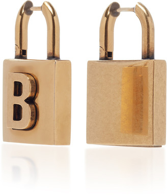 Balenciaga Lock S Antiqued Brass Earrings