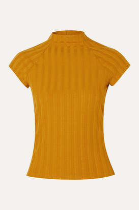 Reformation Giselle Ribbed Stretch-tencel Top - Mustard