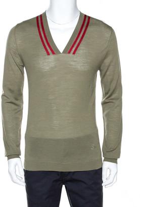 Gucci Pale Olive Green Merino Wool Lightweight Knit Sweater L