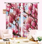 "Newrara Elegant Mangnolia Flower Energy Saving Blackout 3d Curtains 2 Panels For Living Room,Free Hook Included (80W95""L, )"