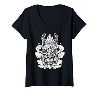 Womens Maverick Infanta Animal Lover llama & Alpaca CUAI0636 V-Neck T-Shirt
