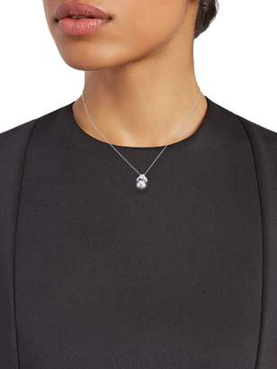 Effy 14K White Gold, 8MM Cultured Tahitian Pearl & Diamond Pendant Necklace