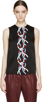 Christopher Kane Black Rope Embroidered Tank Top