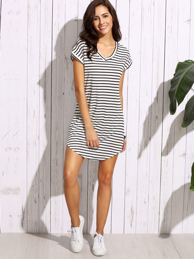 Shein Striped Curved Hem Tshirt Dress