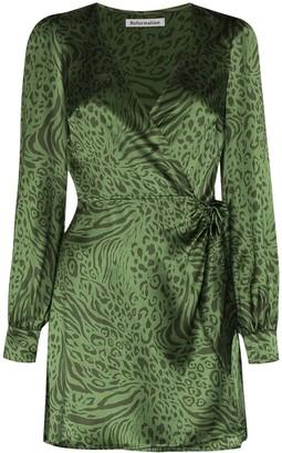 Reformation Kenna leopard-print wrap mini dress