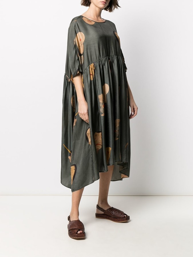 Thumbnail for your product : UMA WANG Faces-Print Midi Dress