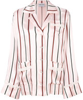 Au Jour Le Jour lace trim striped jacquard shirt