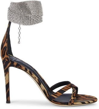 Giuseppe Zanotti Leopard-Print & Crystal-Embellished Ankle Cuff Sandals