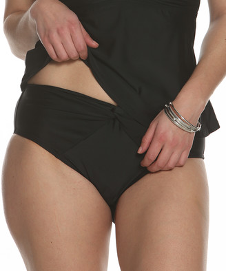 Sun And Sea Sun and Sea Women's Bikini Bottoms BLACK - Black Tea Garden Front-Twist Bikini Bottoms - Women & Plus