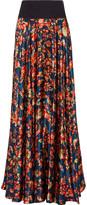 Zac Posen Pleated floral-print silk-satin maxi skirt