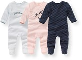 La Redoute Collections Pack of 3 Printed Cotton Sleepsuits, Birth-3 Years