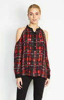 Nicole Miller Leigh Barbed Plaid Blouse