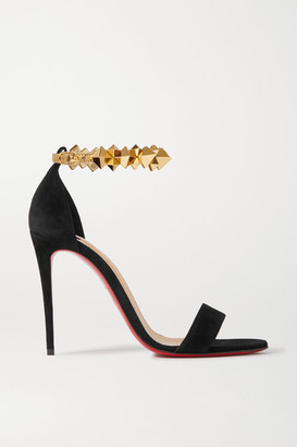 Christian Louboutin Planetava 100 Studded Suede And Leather Sandals - Black
