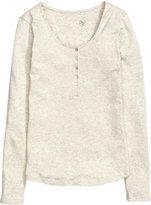 H&M Jersey Top - Light gray melange - Ladies