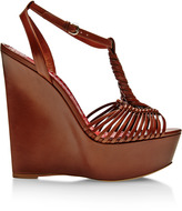 Brian Atwood Akemi Braided-Leather Platform Wedges