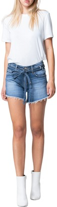 Flying Monkey Mid Rise Raw Hem Waist Tie Shorts