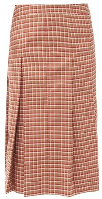 Wales Bonner Pleated Checked Wool-blend Midi Skirt - Red Multi