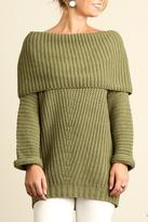 Umgee USA Fold Over Ribbed Sweater