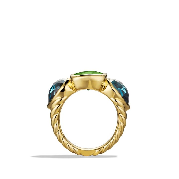 David Yurman Mosaic Three-Stone Ring with Green Tourmaline and Hampton Blue Topaz in Gold