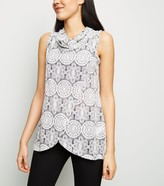 New Look Lace Print Cowl Neck Wrap Top