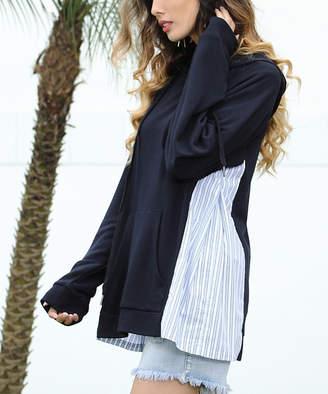 Z Avenue Women's Sweatshirts and Hoodies Navy - Navy Stripe-Inset Kangaroo-Pocket Hoodie - Women