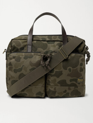 Filson Dryden Leather-Trimmed Camouflage-Print Nylon Briefcase - Men - Green