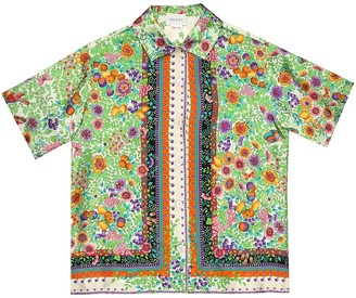 Gucci Kids Printed silk-twill shirt