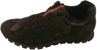 Prada Navy Leather Trainers
