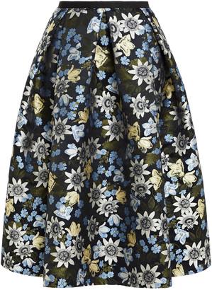 Erdem Kit Pleated Floral-jacquard Skirt