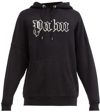 Palm Angels Glow-in-the-dark Logo Cotton Hooded Sweatshirt - Black