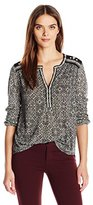 Lucky Brand Women's Mixed Peasant Top in Black Multi