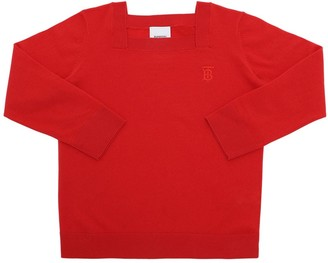 Burberry Embroidered Logo Cashmere Knit Sweater