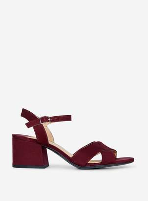 Dorothy Perkins Womens Wide Fit Burgundy 'Boom' Block Heeled Sandals