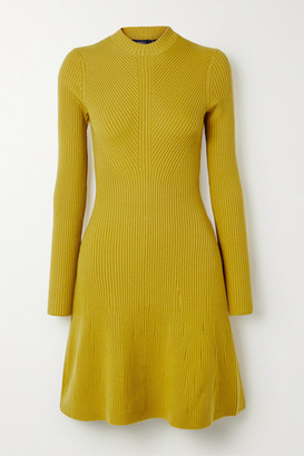 Theory Ribbed Merino Wool-blend Mini Dress - Yellow