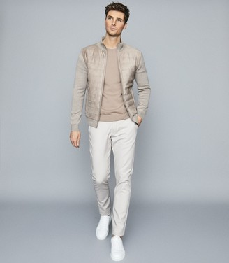 Reiss Justice - Cotton Crew Neck Jumper in Taupe