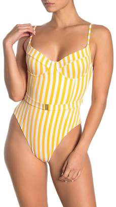 Onia Danielle Striped Belted One-Piece Swimsuit