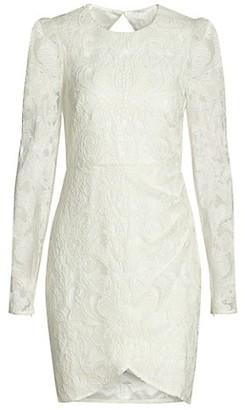 ML Monique Lhuillier Lace Cutout Back Long-Sleeve Dress