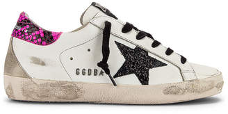 Golden Goose Superstar Sneaker in White, Fuchsia & Glitter | FWRD