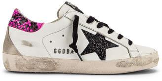 Golden Goose Superstar Sneaker in White, Fuchsia Python & Glitter Star   FWRD