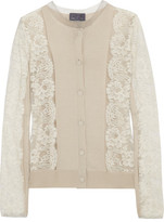 Lanvin Lace And Silk-blend Cardigan - Off-white